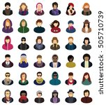 set of icons of young people... | Shutterstock .eps vector #505710739