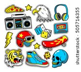 Fashion patch badges with eagle, tiger, skateboard, tape recorder, skull, etc. Vector illustration isolated on white background. Set of stickers, pins, patches in cartoon 80s-90s pop-art comic style. | Shutterstock vector #505716355
