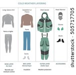 cold weather layered clothes... | Shutterstock .eps vector #505717705