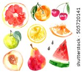 set of fruits. watercolor... | Shutterstock . vector #505720141