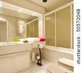 luxury bathroom with brown tiles | Shutterstock . vector #50572048