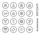 christmas and new year icon set ... | Shutterstock .eps vector #505722679