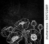 Poppies. Flowers Line Drawn On...