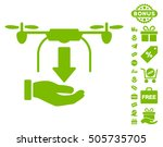 unload drone hand pictograph...