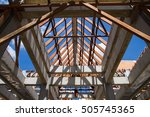 Low Angle View Of Roof Trusses...