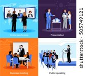 public speaking 4 flat icons... | Shutterstock .eps vector #505749121