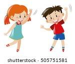 boy and girl dancing... | Shutterstock .eps vector #505751581