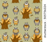 seamless pattern with different ... | Shutterstock .eps vector #505756324
