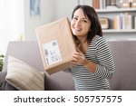 smiling young woman at home on... | Shutterstock . vector #505757575