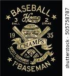 vintage baseball vector artwork ... | Shutterstock .eps vector #505758787