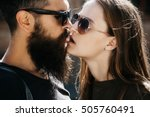 couple of handsome bearded... | Shutterstock . vector #505760491