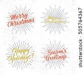 set of christmas lettering ... | Shutterstock . vector #505764367