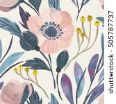 Stock photo seamless watercolor floral pattern on paper texture botanical background 505787737