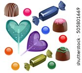 set of different chocolates... | Shutterstock . vector #505801669