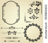 vintage set. floral elements... | Shutterstock .eps vector #505803601