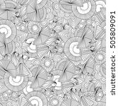 doodle black and white abstract ... | Shutterstock .eps vector #505809091