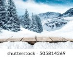 winter wooden table and... | Shutterstock . vector #505814269