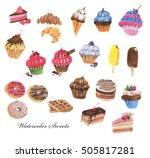 hand drawn watercolor sweet... | Shutterstock . vector #505817281