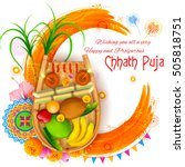 illustration of happy chhath... | Shutterstock .eps vector #505818751