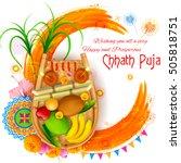 illustration of happy chhath... | Shutterstock .eps vector #505818751