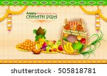 illustration of happy chhath... | Shutterstock .eps vector #505818781
