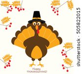 happy thanksgiving turkey | Shutterstock .eps vector #505822015