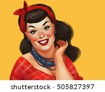 Retro Pin Up Woman With A Red...