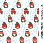 penguin with hat and scarf.... | Shutterstock .eps vector #505829215