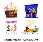 vector flat restaurant people...   Shutterstock .eps vector #505829995