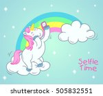 cute unicorn cartoon take selfie | Shutterstock .eps vector #505832551