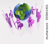 purple armed mans with globe on ... | Shutterstock . vector #505841401