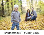 a happy family relaxing... | Shutterstock . vector #505843501