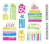 cute happy birthday set for... | Shutterstock .eps vector #505865434