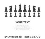 set of white chess pieces and... | Shutterstock .eps vector #505865779