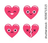 cute cartoon emoticon hearts... | Shutterstock .eps vector #505871515