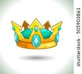 fancy cartoon golden crown icon ...