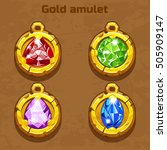 golden old amulet with color...