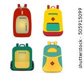 flat backpack set. vector... | Shutterstock .eps vector #505915099