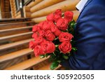 man with a large bouquet of... | Shutterstock . vector #505920505