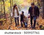 a family of four enjoying... | Shutterstock . vector #505937761