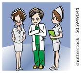 cute doctor and nurse cartoon... | Shutterstock .eps vector #505949041