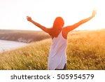 teenage girl enjoy with... | Shutterstock . vector #505954579