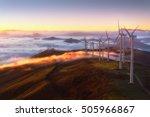 wind turbines on the mountain | Shutterstock . vector #505966867