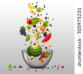 various fruits and berries are... | Shutterstock .eps vector #505975231