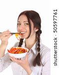 beautiful woman eating with... | Shutterstock . vector #50597761