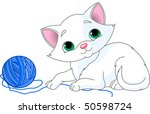 Stock vector white kitten playing with a ball of yarn 50598724