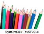 colored wooden crayons isolated ... | Shutterstock . vector #50599018