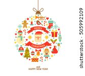 merry christmas greeting card.... | Shutterstock .eps vector #505992109