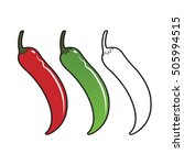 chillies in red  blue   outline ... | Shutterstock .eps vector #505994515