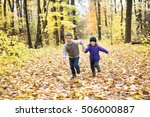 two happy children playing in... | Shutterstock . vector #506000887
